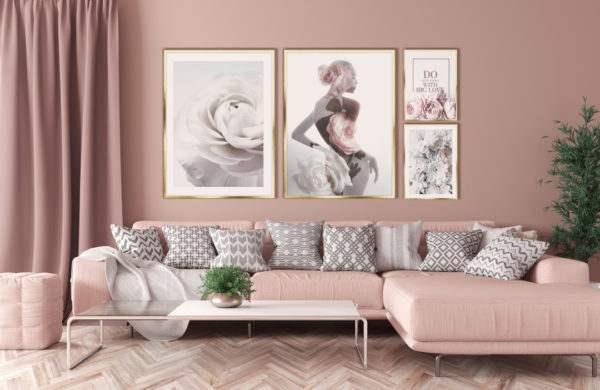 Rahmenbild Dahlias im Wohnzimmer