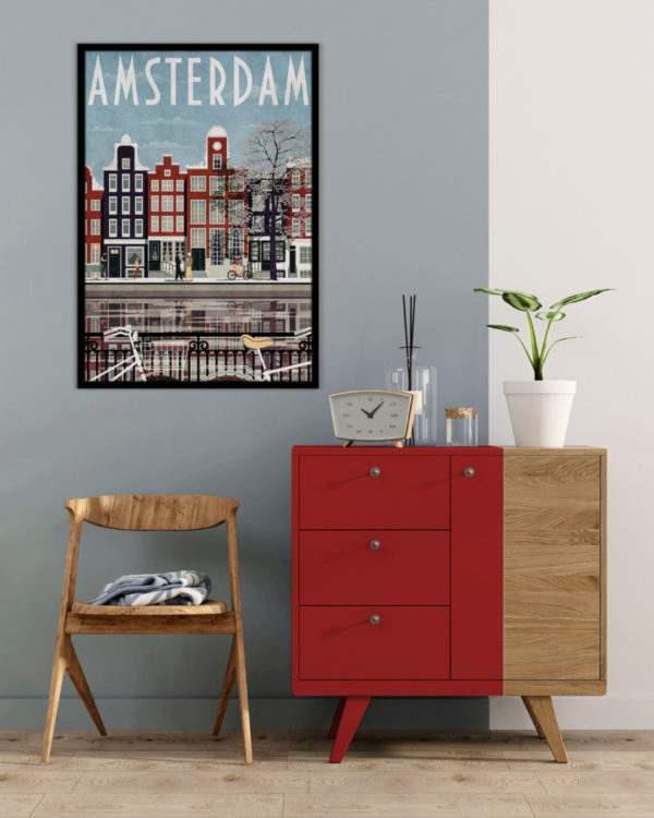 Rahmenbild Amsterdam im Wohnzimmer