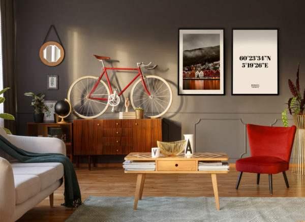 Rahmenbild Norge im Wohnzimmer