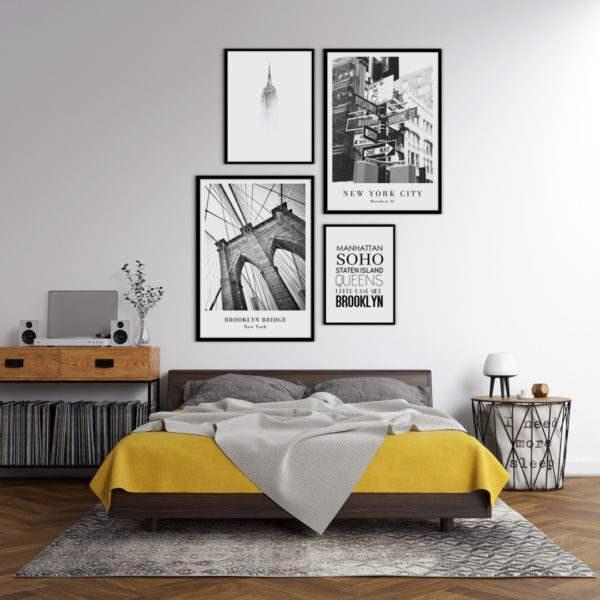 Rahmenbild Broadway Street im Schlafzimmer