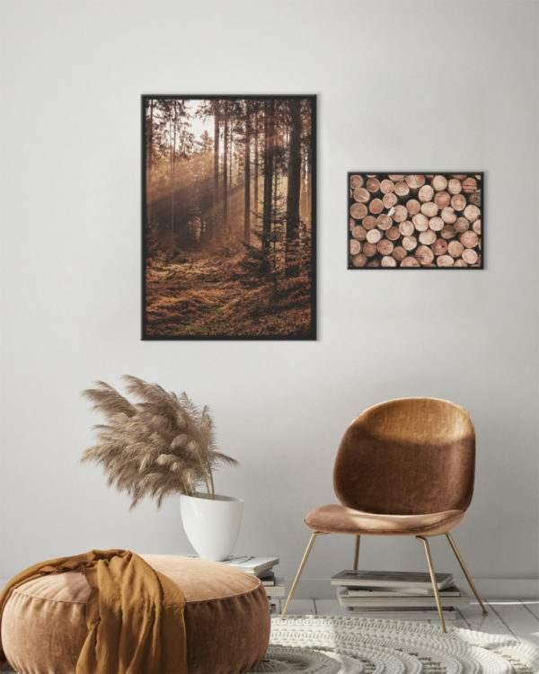 Rahmenbild Wood im Wohnzimmer