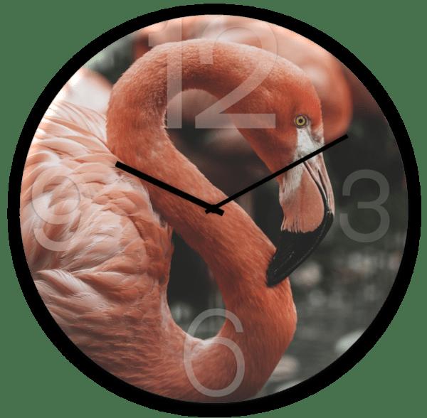 Glasuhr Flamingo