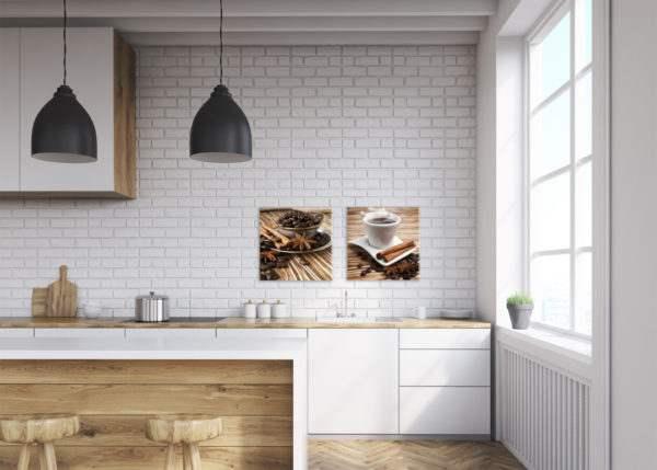 Glasbild Kaffee Set in der Küche