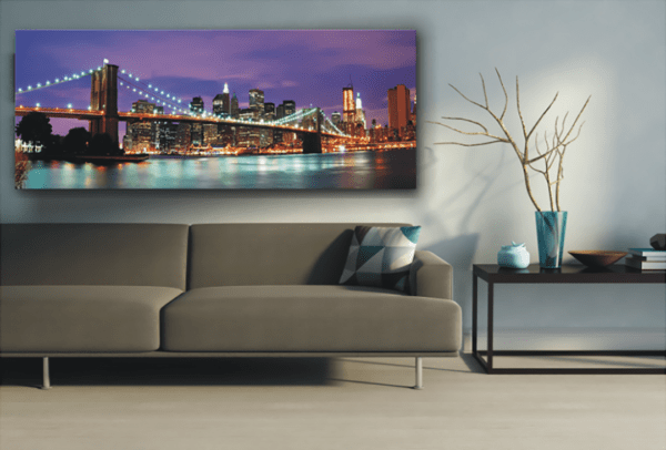 Glasbild Skyline – Panorama im Wohnzimmer