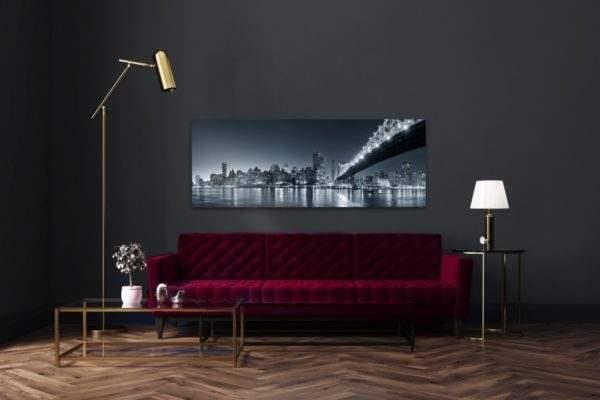 Glasbild City Nightlights – Panorama im Wohnzimmer