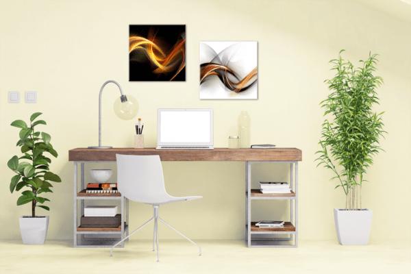 Glasbild White Abstract im Arbeitszimmer