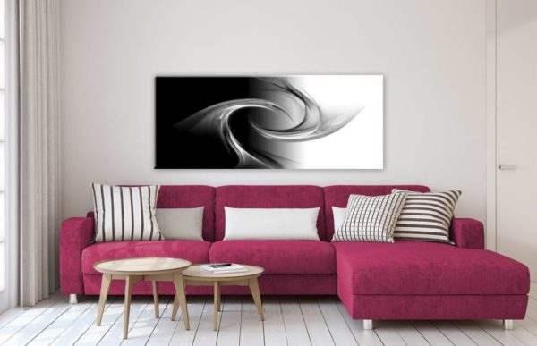 Glasbild Black & White im Wohnzimmer