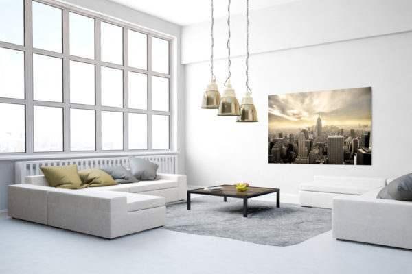 Glasbild New York Manhattan im Wohnzimmer
