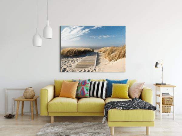 Glasbild Steg am Strand im Wohnzimmer