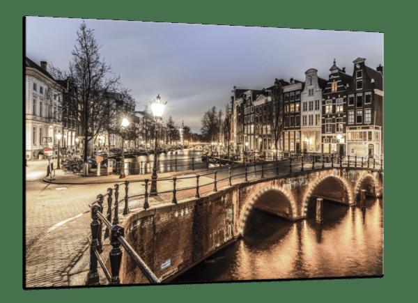 Glasbild Amsterdam Ansicht schräg