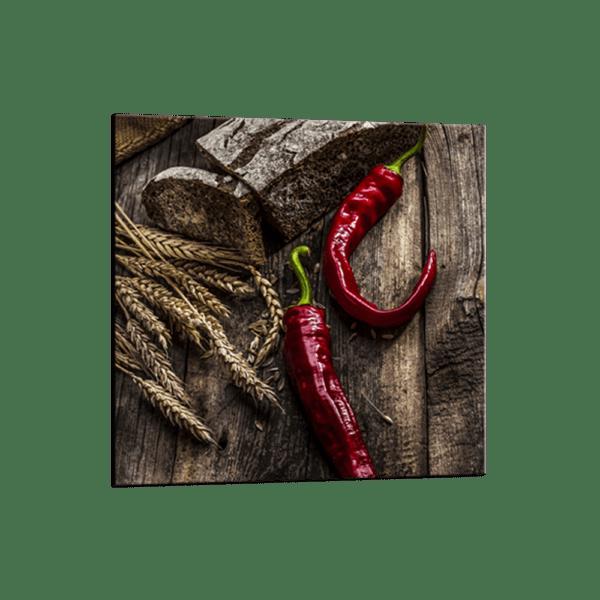 Glasbild Red Peppers Ansicht schräg