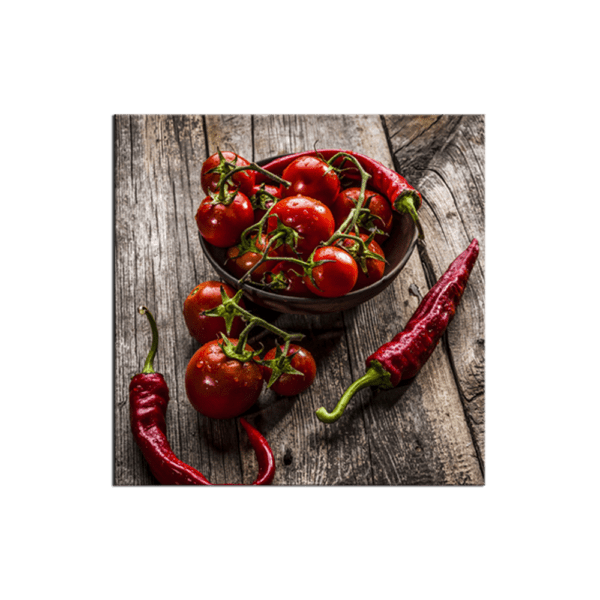 Glasbild Peppers and Tomatoes