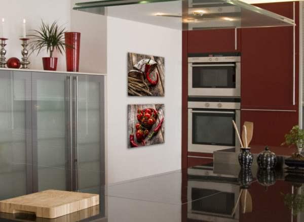 Glasbild Red Pepper & Bread in der Küche