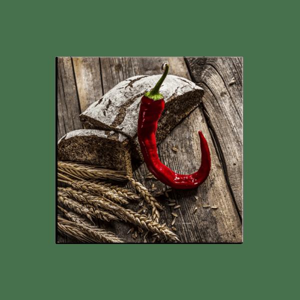 Glasbild Red Pepper & Bread