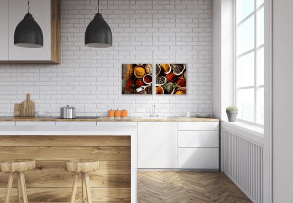 Glasbild Orientalische Gewürze in der Küche