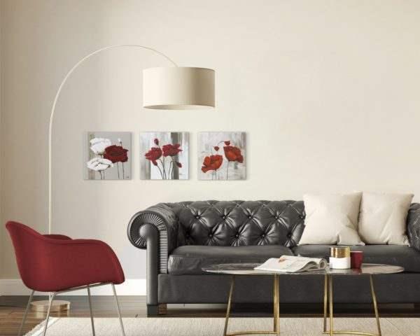 Glasbild Red & White im Wohnzimmer