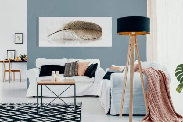Glasbild Feder im Wohnzimmer