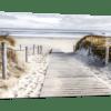 Glasbild Dünenpfad ans Meer Ansicht schräg