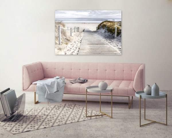 Glasbild Dünenpfad ans Meer im Wohnzimmer