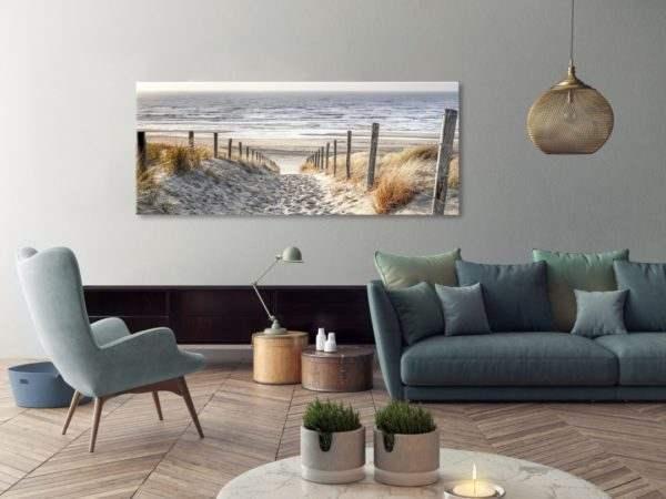 Glasbild Dünen am Meer im Wohnzimmer