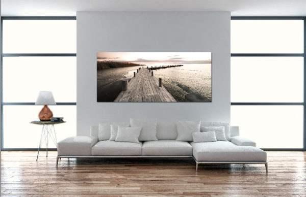 Glasbild Steg am See im Wohnzimmer