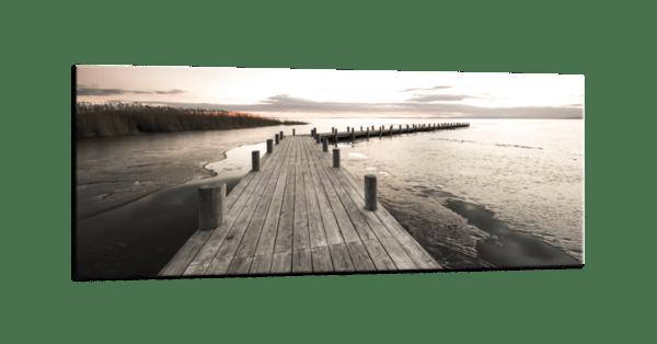 Glasbild Steg am See Ansicht schräg