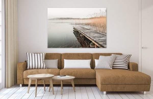 Glasbild Steg im Schilf im Wohnzimmer