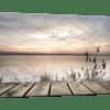 Glasbild Steg in der Abenddämmerung – Panorama Ansicht schräg