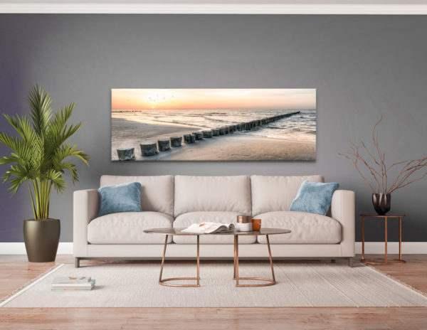 Glasbild Steg ins Meer im Wohnzimmer