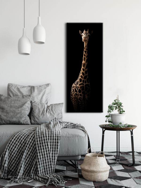 Glasbild Giraffe im Wohnzimmer