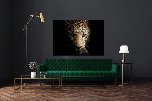 Glasbild Majestic Leopard im Wohnzimmer