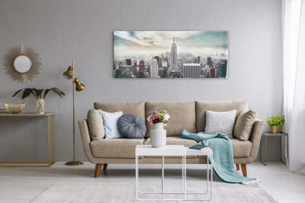 Glasbild Manhattan im Wohnzimmer