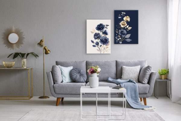 Glasbild Navy Glam im Wohnzimmer