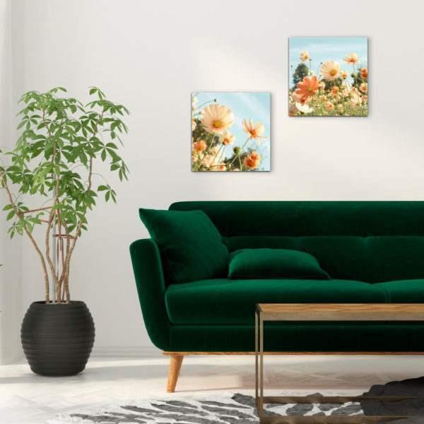 Glasbild Sommerwiese im Wohnzimmer