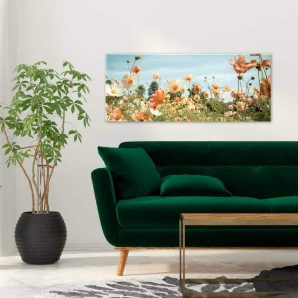 Glasbild Blumentraum im Wohnzimmer