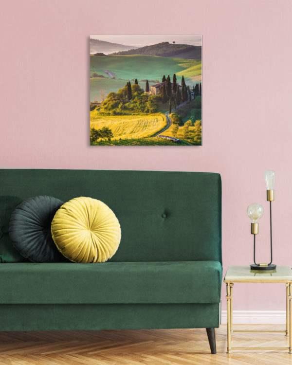 Glasbild Toskana im Wohnzimmer