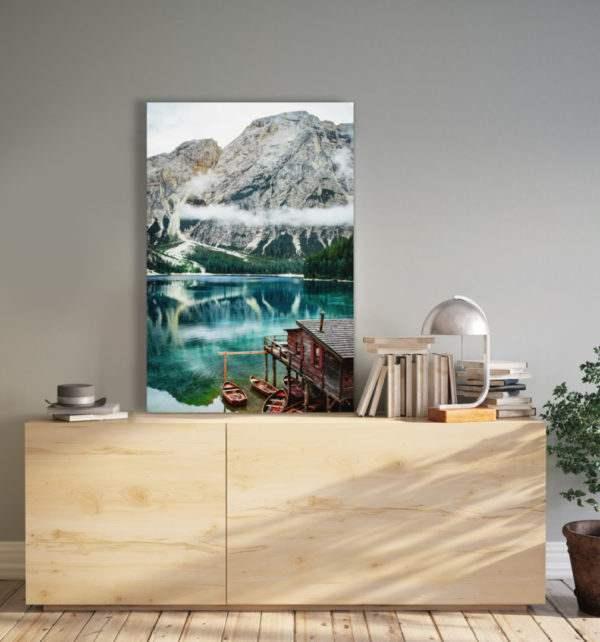 Glasbild Tiroler Seenlandschaft im Wohnzimmer