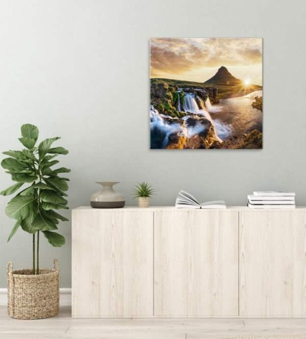 Glasbild Die Schönheit Islands im Wohnzimmer