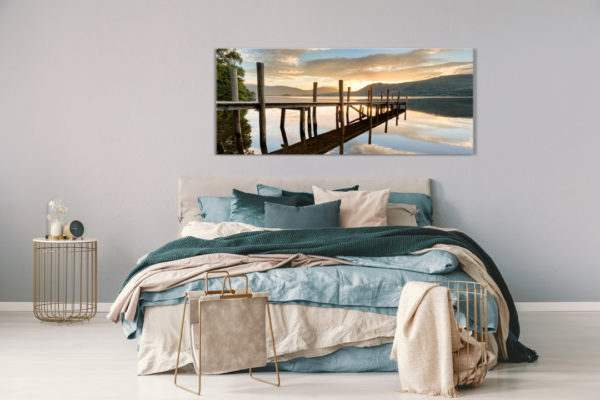 Glasbild Sonnenuntergang am See im Schlafzimmer