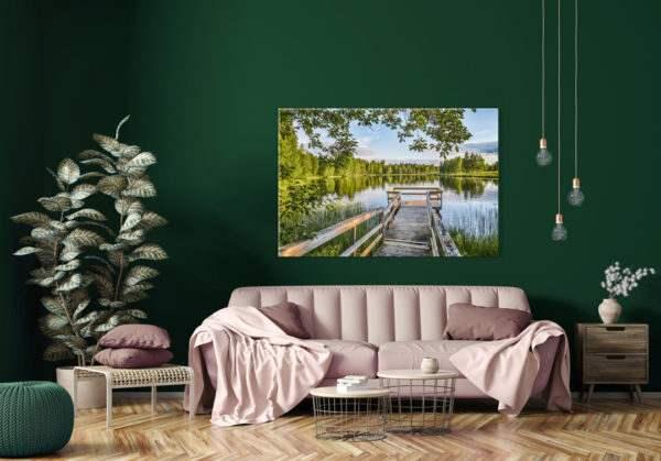 Glasbild Wooden Jetty im Wohnzimmer