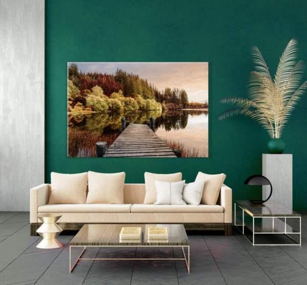 Glasbild Autumn Path im Wohnzimmer