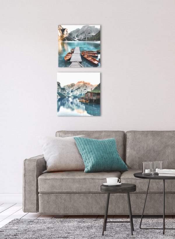 Glasbild Tyrol Hut im Wohnzimmer