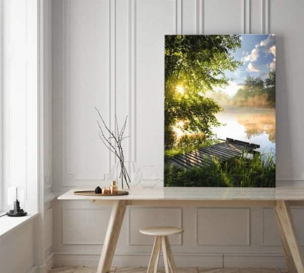 Glasbild Idylle im Wohnzimmer