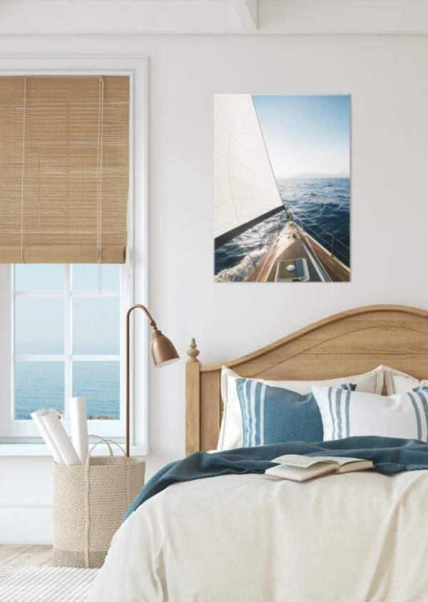 Glasbild Yacht im Schlafzimmer