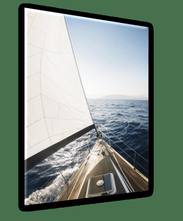 Glasbild Yacht Ansicht schräg
