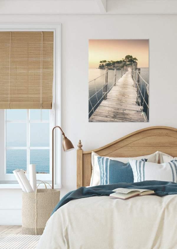 Glasbild Greece im Schlafzimmer