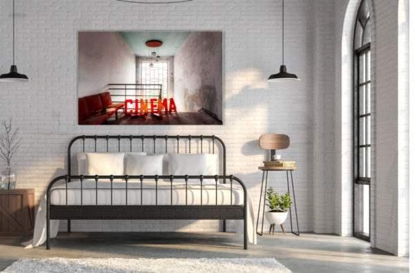 Glasbild Cinema im Schlafzimmer