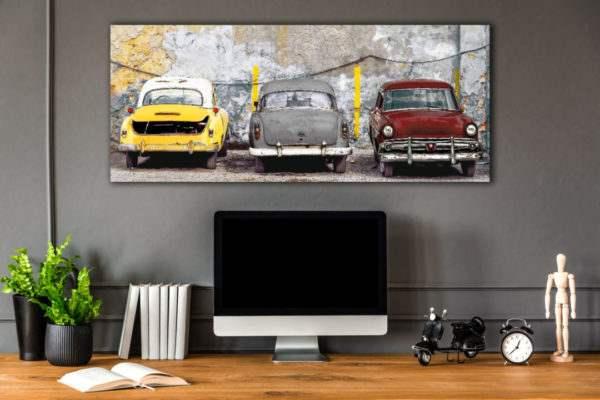 Glasbild Colorful Cars im Arbeitszimmer