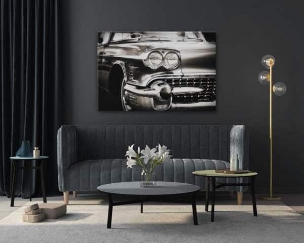 Glasbild Car – Metallic Shining Effect im Wohnzimmer