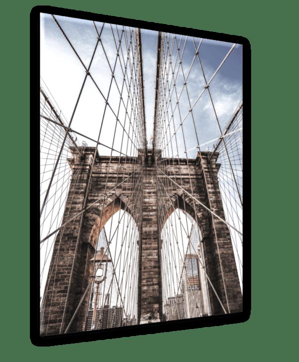 Glasbild Brooklyn Bridge Ansicht schräg